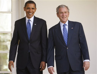 Barack Obama, then President-elect, and President George W. Bush at the White House during the 2008 transition.