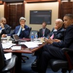 President Barack Obama meets with his National Security Staff to discuss the situation in Syria, in the Situation Room of the White House, Aug. 30, 2013. From left at the table: National Security Advisor Susan E. Rice; Attorney General Eric Holder; Secretary of State John Kerry; and Vice President Joe Biden. (Official White House Photo by Pete Souza)
