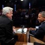 "President Barack Obama criticized Russian leaders for slipping back into Cold War thinking during an appearance on ""The Tonight Show with Jay Leno"" at the NBC Studios in Burbank, California., Aug. 6, 2013. (Official White House Photo by Pete Souza)"