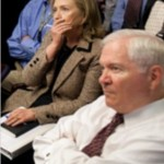 Defense Secretary Robert Gates and Secretary of State Hillary Clinton on May 1, 2011, watching developments in the Special Forces raid that killed Osama bin Laden. Neither played a particularly prominent role in the operation. (White House photo by Pete Souza)