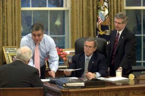 President George W. Bush and Vice President Dick Cheney receive an Oval Office briefing from CIA Director George Tenet. Also present is Chief of Staff Andy Card (on right). (White House photo)