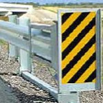 ET-Plus, an energy-absorbing end unit for a highway guardrail. (Photo credit: Trinity Highway Products)
