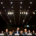 Secretary of State John Kerry (center) testifies on the Syrian crisis before the Senate Foreign Relations Committee on Sept. 3, 2013. At the left of the photo is Gen. Martin Dempsey, chairman of the Joint Chiefs of Staff. and on the right is Defense Secretary Chuck Hagel. No senior U.S. intelligence official joined in the testimony. (U.S. State Department photo)