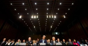 Secretary of State John Kerry (center) testifies on the Syrian crisis before the Senate Foreign Relations Committee on Sept. 3, 2013. At the left of the photo is Gen. Martin Dempsey, chairman of the Joint Chiefs of Staff. and on the right is Defense Secretary Chuck Hagel. No senior U.S. intelligence official joined in the testimony. U.S. State Department photo)
