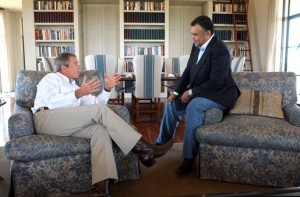 Prince Bandar bin Sultan, then Saudi ambassador to the United States, meeting with President George W. Bush in Crawford, Texas, on Aug. 27, 2002. (White House photo)