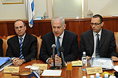 Israeli Prime Minister Benjamin Netanyahu (center at a cabinet meeting) has decried the spread of a boycott movement against Israel's mistreatment of Palestinians.