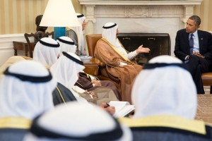 President Barack Obama holds a bilateral meeting with His Highness Sheikh Sabah Al-Ahmad Al-Jaber Al Sabah, the Amir of Kuwait, in the Oval Office, Sept. 13, 2013. (Official White House Photo by Pete Souza)