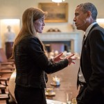 "President Barack Obama talks with Ambassador to the United Nations Samantha Power, a major proponent of ""humanitarian"" wars, following a Cabinet meeting in the Cabinet Room of the White House, Sept. 12, 2013. (Official White House Photo by Pete Souza)"