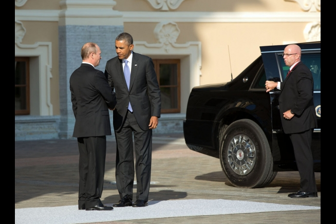 Earlier in the crisis over Syria, President Vladimir Putin of Russia welcomed President Barack Obama to the G20 Summit at Konstantinovsky Palace in Saint Petersburg, Russia, Sept. 5, 2013. (Official White House Photo by Pete Souza)