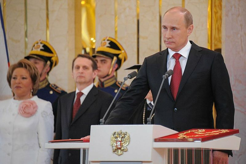 Russian President Vladimir Putin taking the presidential oath at his third inauguration ceremony  on May 7, 2012. (Russian government photo)
