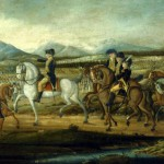 A painting of President George Washington leading a force of federalized state militias against the Whiskey rebels in western Pennsylvania in 1794.