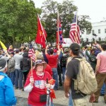The Confederate battle flag made an appearance at a weekend Tea Party rally outside the White House. (Photo via David Frum on Twitter)