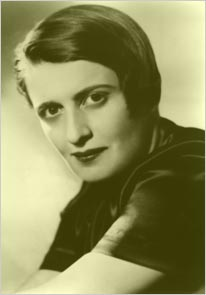 Author Ayn Rand, an advocate for unrestrained capitalism.