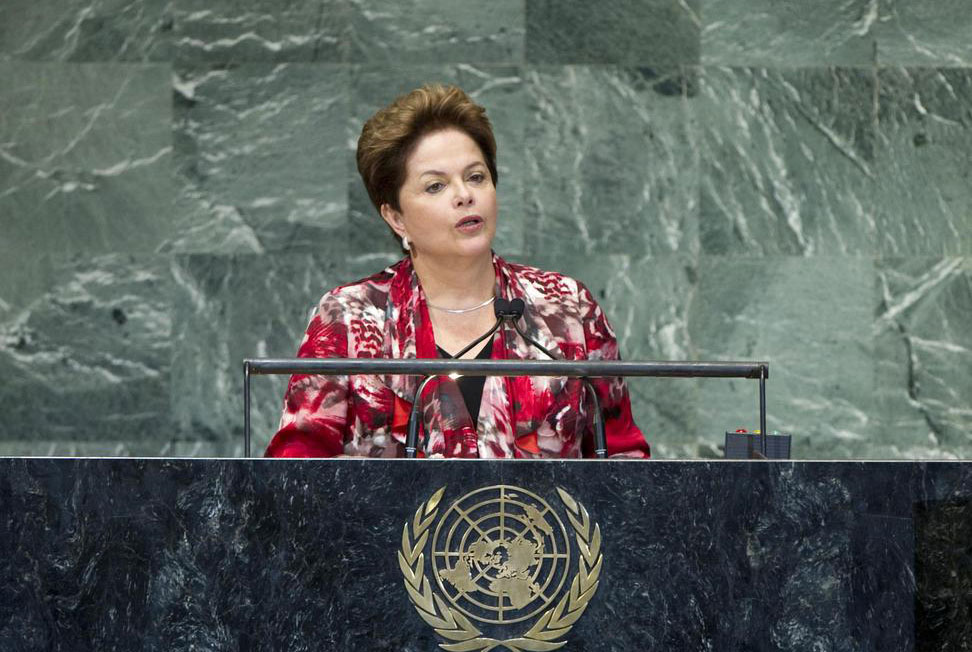 Brazil's President Dilma Rousseff addressing the United Nations General Assembly. (UN Photo by Marco Castro)