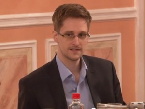 NSA whistleblower Edward Snowden speaking in Moscow on Oct. 9, 2013, after receiving an award from an organization of former U.S. intelligence officials. (From a video posted by WikiLeaks)
