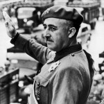 Fascist Gen. Francisco Franco, saluting his troops.