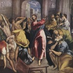 Jesus, driving the money-changers from the Temple, in a painting by El Greco.