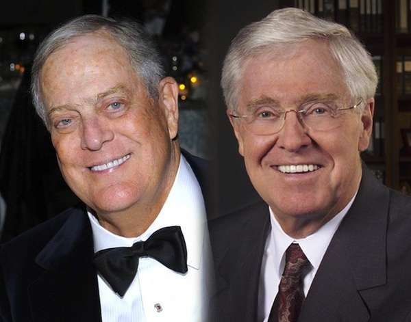 Oil billionaires David and Charles Koch.