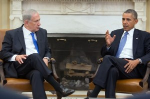 President Barack Obama and Prime Minister Benjamin Netanyahu of Israel hold a bilateral meeting in the Oval Office, Sept. 30, 2013., From ImagesAttr