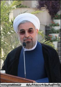 Iranian President Hassan Rouhani at a press conference in Iran. (Official Iranian photo)