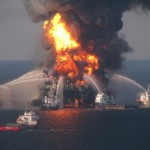 Fire boat crews battle the blazing off-shore oil rig Deepwater Horizon on April 21, 2010, one of the many environmental catastrophes in recent years. (Photo credit: U.S. Coast Guard)