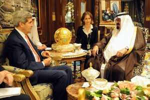 U.S. Secretary of State John Kerry delivers a greeting from President Barack Obama during a meeting with King Abdullah of Saudi Arabia in Riyadh on November 4, 2013. [State Department photo/ Public Domain]