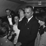 Lyndon Johnson sworn in as U.S. President after John F. Kennedy's assassination on Nov. 22, 1963.  (Photo Credit: Lyndon Baines Johnson Library)