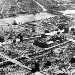 A residential section of Tokyo destroyed by U.S. firebombing near the end of World War II.