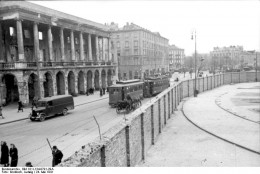A wall erected around the Warsaw Ghetto in Poland in 1941.