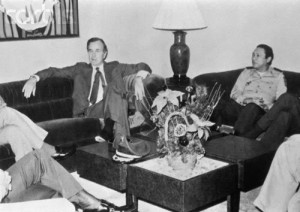 Vice President George H.W. Bush meeting with Panamanian Gen. Manuel Noriega in the mid-1980s.