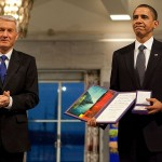 President Barack Obama uncomfortably accepting the Nobel Peace Prize from Committee Chairman Thorbjorn Jagland in Oslo, Norway