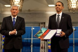 President Barack Obama uncomfortably accepting the Nobel Peace Prize from Committee Chairman Thorbjorn Jagland in Oslo, Norway, Dec. 10, 2009. (White House photo)