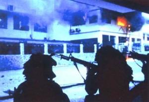 U.S. Army Rangers assault La Comandancia, headquarters of the Panamanian Defense Force, in the El Chorrillo neighborhood of Panama City during the invasion of Panama,  December 1989. (U.S. military photo)