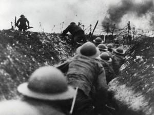 Trench warfare during World War I.