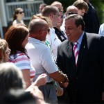 New Jersey Gov. Chris Christie, a Republican. shaking hands of citizens. (Photo credit: Governor's office)