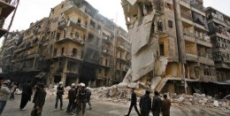 War damage in the once-thriving Syrian city of Aleppo.