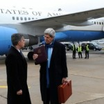 Secretary of State John Kerry arriving in Paris on Jan. 12, 2014, for diplomatic meetings on the Middle East. (State Department photo)