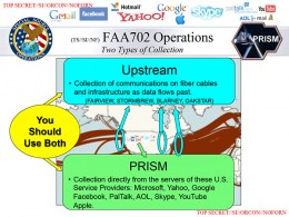 """A slide from material leaked by ex-NSA contractor Edward Snowden to the Washington Post, showing what happens when an NSA analyst """"tasks"""" the PRISM system for information about a new surveillance target."""