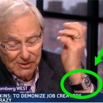 Billionaire Tom Perkins showing off his expensive watch on Bloomberg TV. (From Business Insider)