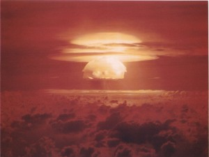 The U.S. hydrogen bomb explosion codenamed Bravo on March 1, 1954.