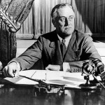 President Franklin Delano Roosevelt at a press conference.