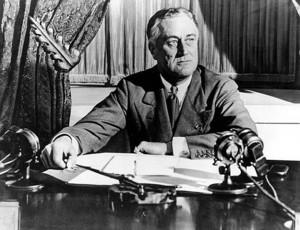 President Franklin Delano Roosevelt at a press conference.