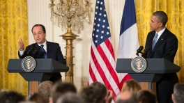 President Barack Obama holds a press conference with French President Francois Hollande at the White House on Feb. 11, 2014. (White House photo)
