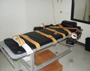 A gurney used for  executions by lethal injection.