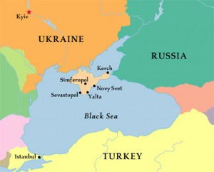 A map showing Crimea (in beige) and its proximity to both the Ukrainian mainland and Russia.