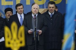 Sen. John McCain appearing with Ukrainian rightists of the Svoboda party at a pre-coup rally in Kiev.