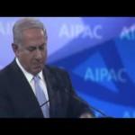 Israeli Prime Minister Benjamin Netanyahu speaking to 2014 convention of the powerful lobbying group, American Israel Public Affairs Committee.
