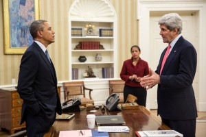President Barack Obama talks with Secretary of State John Kerry and National Security Advisor Susan E. Rice in the Oval Office on March 19, 2014., From ImagesAttr