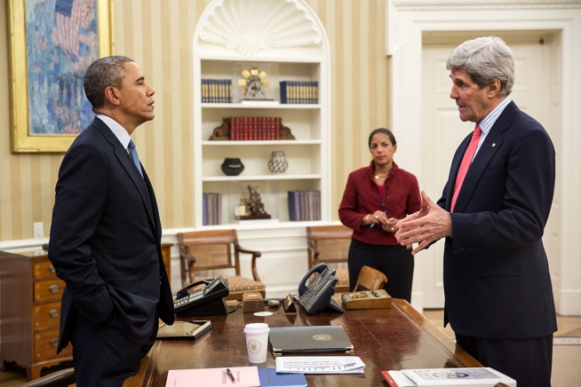 President Barack Obama Talks With Secretary Of State John Kerry And
