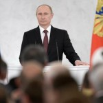 Russian President Vladimir Putin delivering a speech on the Ukraine crisis in Moscow on March 18, 2014. (Russian government photo)